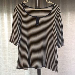 Blue and white stripped Ralph Lauren top